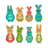 Set of cute Easter bunny Royalty Free Stock Photo