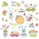 Set of cute Easter cartoon elements Easter bunny eggs decorative flowers isolated Vector illustration text Happy Easter. Set of cute Easter cartoon elements vector illustration