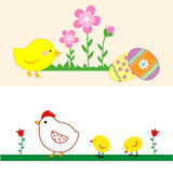 Set of cute Easter Chicks. Set of cute easter illustrations Stock Photo