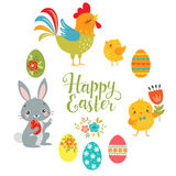 Set of cute Easter design elements. Bunny, chicks, rooster, eggs and `Happy Easter` hand draw text isolated on white background stock illustration