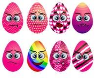 Set of cute Easter eggs. Set of Emoji egg. Smile eggs. Isolated flat. Illustration on white background vector illustration