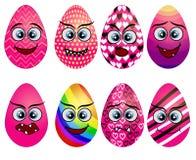 Set of cute Easter eggs. Set of Emoji egg. Smile eggs. Isolated flat. Illustration on white background stock illustration