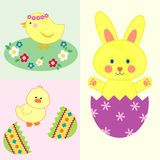Set of cute easter illustrations. Of easter bunny and cute chicks Royalty Free Stock Images