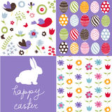 Set of cute easter patterns Royalty Free Stock Image