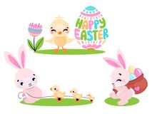 Set of cute Easter rabbits with Easter eggs and chicken. Collection of Easter bunny isolated on white background. Vector illustration vector illustration