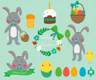Set of cute Easter rabbits with Easter eggs. Vector. Illustrations Stock Image