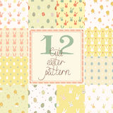 Set of cute easter seamless patterns in bright colors Royalty Free Stock Images