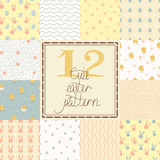Set of cute easter seamless patterns Royalty Free Stock Photo