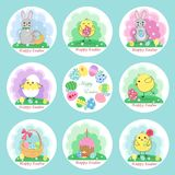 Set of Cute Easter stickers, insulated. Vector illustration Stock Photo