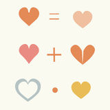 Set of cute elements drawn multicolored hearts, vector characters. Royalty Free Stock Photo