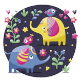 Set of cute elephants with birds, flowers, plants, leaf and hearts Stock Images
