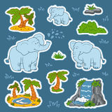 Set of cute elephants and natural sites, vector stickers of anim. Als and objects of nature Stock Image