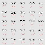 Set of cute emoticons with different emotions stock illustration
