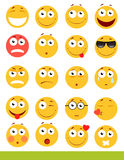 Set of cute Emoticons. Emoji and Smile icons.  on white background. vector illustration. Royalty Free Stock Photography