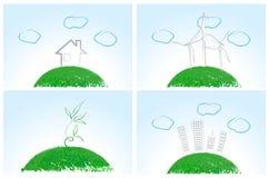 Set of cute enviromental illustrations Royalty Free Stock Image