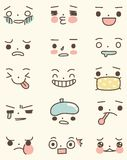 Set of Cute Face Expressions Royalty Free Stock Images