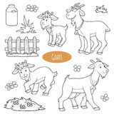Set of cute farm animals and objects, vector family goats. Colorless set of cute farm animals and objects, vector family goats Royalty Free Stock Images