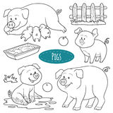 Set of cute farm animals and objects, vector family pigs. Colorless set of cute farm animals and objects, vector family pigs Royalty Free Stock Photo