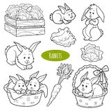 Set of cute farm animals and objects, vector family rabbits. Colorless set of cute farm animals and objects, vector family rabbits stock illustration