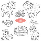 Set of cute farm animals and objects, vector family sheep royalty free illustration