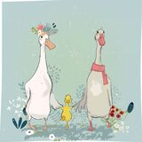 Set with cute farm birds. Duck and goose andfloral elements vector illustration
