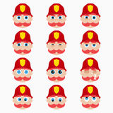Set of cute firefighter emoticons. Vector illustration Stock Image