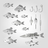 A set of cute fish with fishing gear in gray. Set of cute fish with fishing gear in gray Royalty Free Stock Images