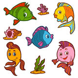 Set of cute fish and natural sites, vector stickers Stock Photo
