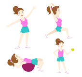 Set of Cute fitness woman exercising, lunge, warrior yoga pose, Stock Photo