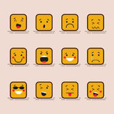 Set cute flat design of cube character with different facial expressions, emotions. Collection of emoji isolated on. Color background Royalty Free Stock Photos