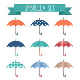 Set of cute flat style autumn umbrellas Royalty Free Stock Photo