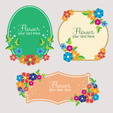 Set Cute flat style flower label Royalty Free Stock Photos