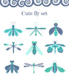 Set of cute flies and other insects. Vector set of cute and colourful flies, dragonflies and other insects. Elements for summer illustration Stock Photo
