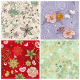 Set of cute floral background Royalty Free Stock Photo