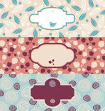 Set of cute floral banners Royalty Free Stock Photos