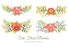Set of cute floral borders Stock Image