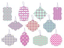 Set of cute floral tags and labels with hearts Royalty Free Stock Photo