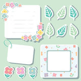 Set of cute flower elements for scrapbook Royalty Free Stock Photography