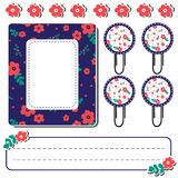 Set of cute flower elements for scrapbook Stock Photos