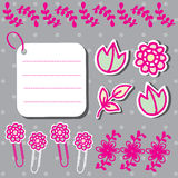 Set of cute flower elements for scrapbook Stock Images