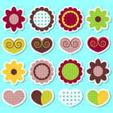Set of cute flowers and hearts Stock Images