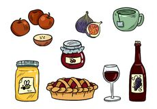 Set of cute food doodles. Hygge food stickers for planners and botebooks. Cocoa, pie, mulled wine, ginger cookies, apples, jam royalty free illustration