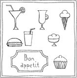 Set of cute food drawings Royalty Free Stock Image