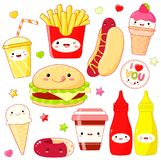 Set of cute food icons in kawaii style Royalty Free Stock Image