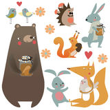 Set with cute forest animals. Set with cute cartoon forest animals vector illustration