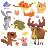 Set of cute forest animals isolated on white background. Cartoon bird hedgehog beaver bunny rabbit chipmunk fox mouse and moose stock illustration
