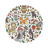 Set of cute forest creatures. Wild animals and fairy tale creatures. Hand-drawn doodles. Decoration elements for kid`s room. stock illustration