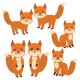 Set of cute fox, boy and girl with funny face and big eyes and fluffy tails isolated on white background. Vector Stock Photos