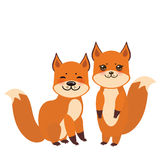 Set of cute fox, boy and girl with funny face and big eyes and fluffy tails isolated on white background. Vector Royalty Free Stock Photography