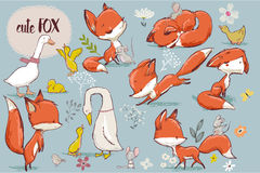 Set with cute fox and farm birds